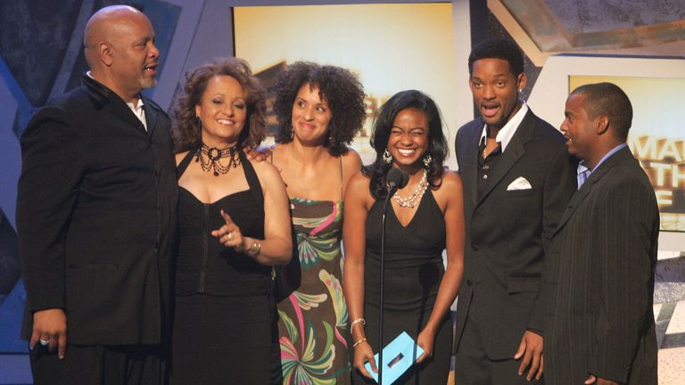 The Fresh Prince cast in 2005: (L-R) James Avery, Daphne Reid, Karyn Parsons, Tatyana Ali, Will Smith, Alfonso Ribeiro