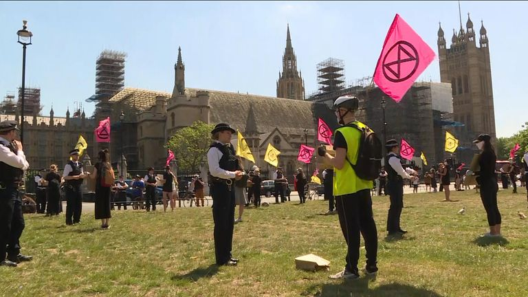 Sky's Emma Birchley has been at Westminster speaking to a representative of XR about their illegal protest