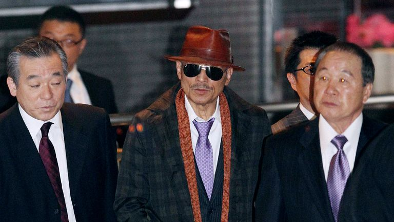 Yakuza boss Kenichi Shinoda, the head of the Yamaguchi-gumi gang, is seen after being released from prison in 2011