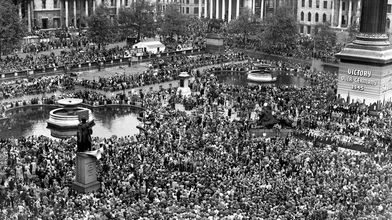 File photo dated 08/05/45 showing huge crowds at Trafalgar Square, London, celebrating VE (Victory in Europe) Day in London, marking the end of the Second World War in Europe, 75 years ago.