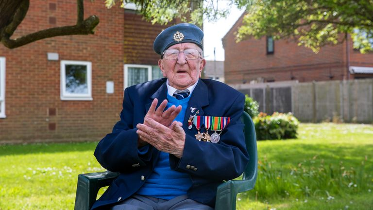 99 year-old D-Day veteran Stanley Northeast, from Rustington, Sussex, who is calling on the public to clap for veterans on VE Day as he is clapping for NHS heroes today.