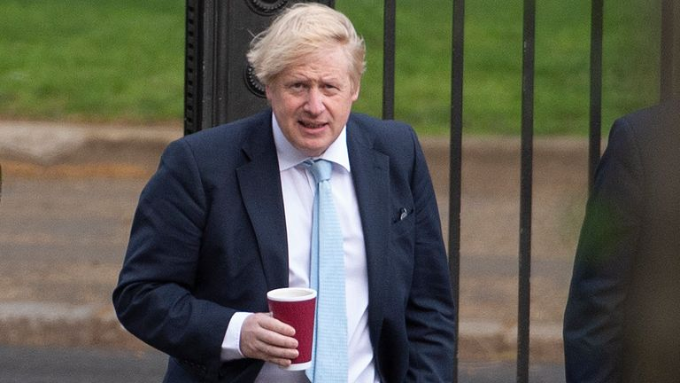 Coronavirus - Tue May 5, 2020 Prime Minister Boris Johnson takes a morning walk in St James' Park in London before returning to Downing Street, as the UK enters a seventh week of lockdown to help stop the spread of coronavirus.