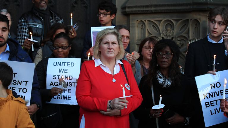 Debbie Makki, pictured at an anti-knife crime vigil in Manchester last year, died aged 54 in the early hours of Sunday