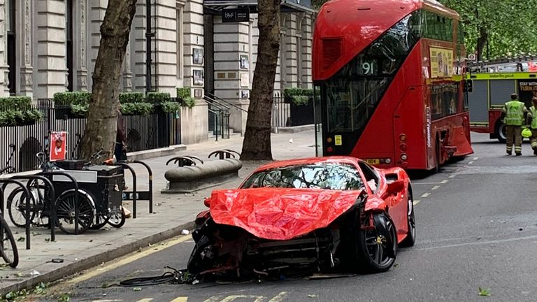 The remains of a Ferrari on Northumberland Avenue. Twitter: @DickiesTicker
