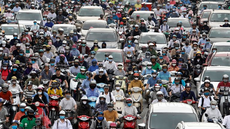 Traffic jam is seen in morning rush hour after the government eased nationwide lockdown following the coronavirus disease (COVID-19) outbreak in Hanoi, Vietnam May 25, 2020. REUTERS/Kham