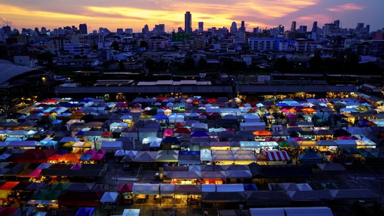 A view of the Ratchada Railway Night Market which is reopnening amid the coronavirus disease (COVID-19) outbreak after the Thai government eased isolation measures, in Bangkok, Thailand, May 15, 2020. REUTERS/Jorge Silva