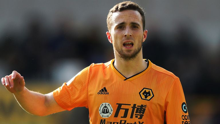 Diogo Jota of Wolverhampton Wanderers during the Premier League match between Wolverhampton Wanderers and Norwich City at Molineux on February 23, 2020 in Wolverhampton, United Kingdom.