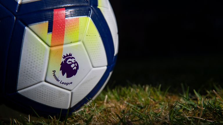 The official Nike Premier League match ball displayed on May 6, 2020 in Manchester, England (Photo by Visionhaus)