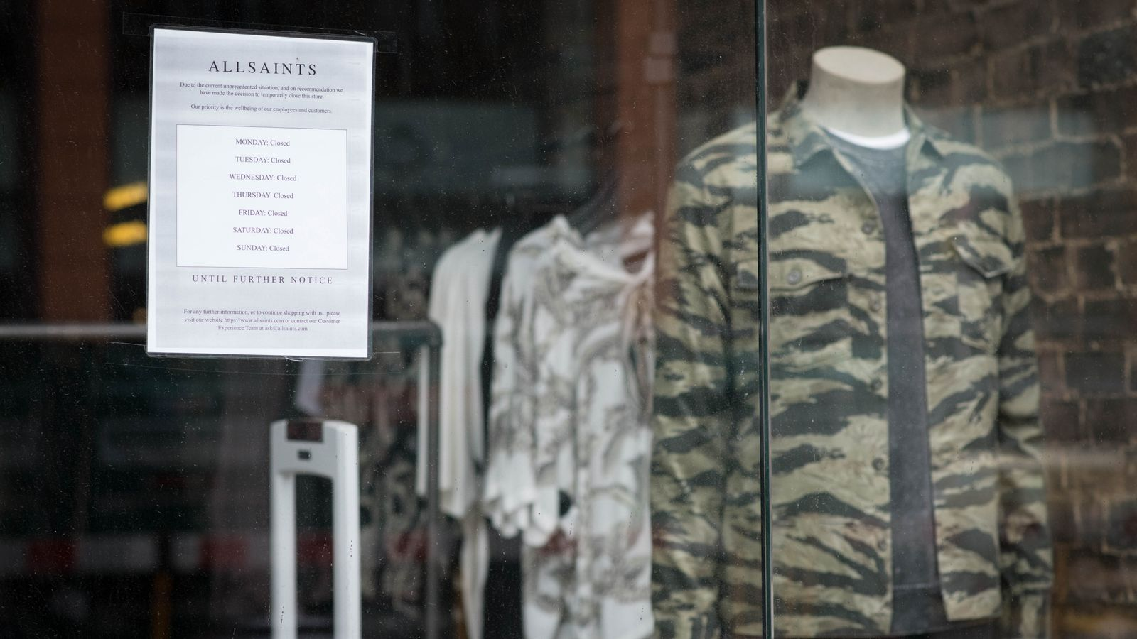 Coronavirus: All Saints fashions CVA plan amid high street crisis | Business News