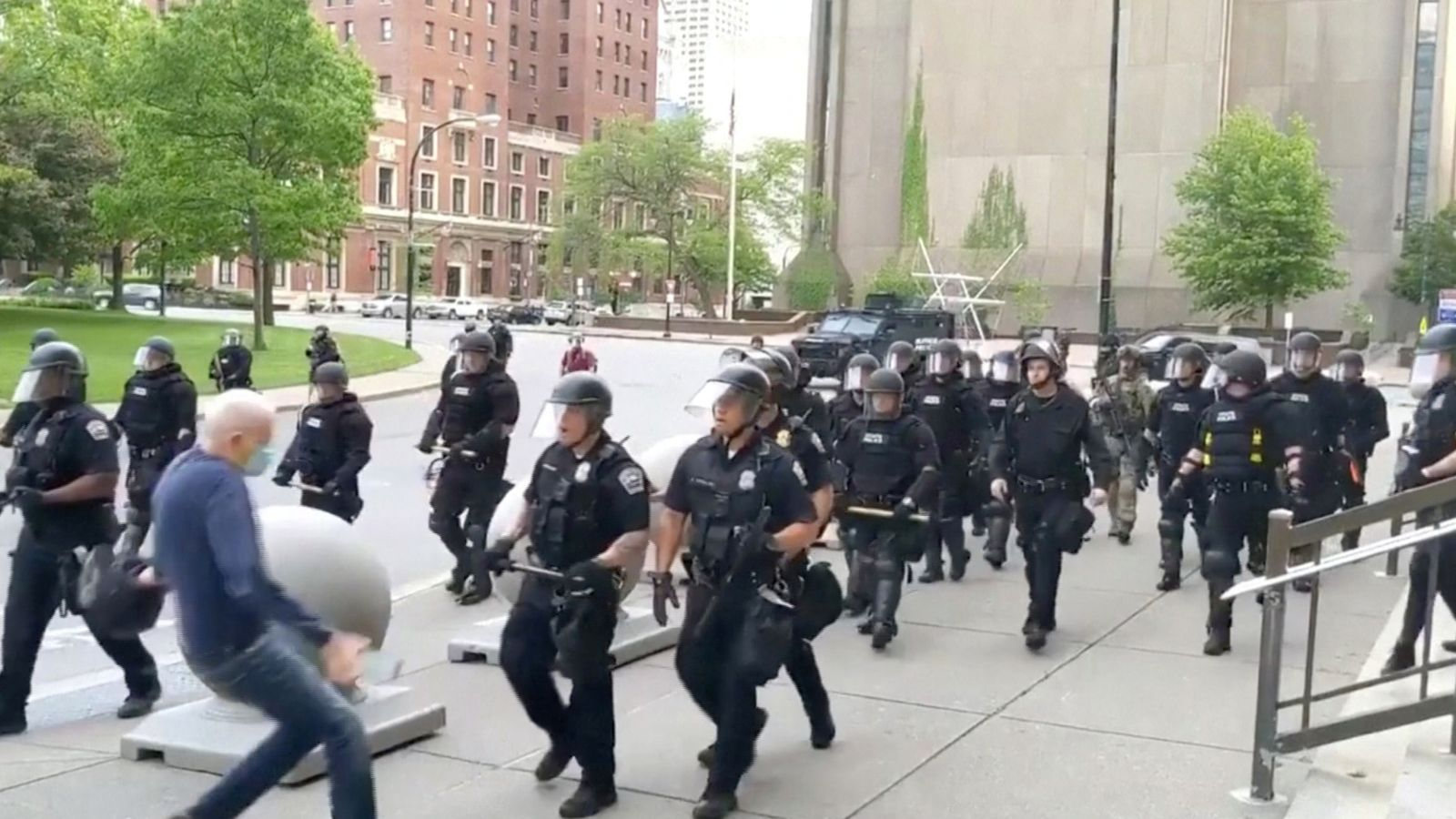 Entire police unit resigns 'in disgust' at suspension of officers who shoved elderly man to ground