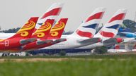 British Airways Airbus A380 airplanes are stored on the tarmac of Marcel-Dassault airport at Chateauroux during the outbreak of the coronavirus disease (COVID-19) in France June 10, 2020. Picture taken June 10, 2020. REUTERS/Charles Platiau