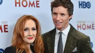 """English author JK Rowling (L) and English actor Eddie Redmayne attend HBO's """"Finding The Way Home"""" world premiere at Hudson Yards on December 11, 2019 in New York City"""