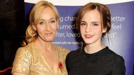 JK Rowling (L) and Emma Watson attend the Lumos fundraising event hosted by JK Rowling at The Warner Bros. Harry Potter Tour on November 9, 2013 in London, England