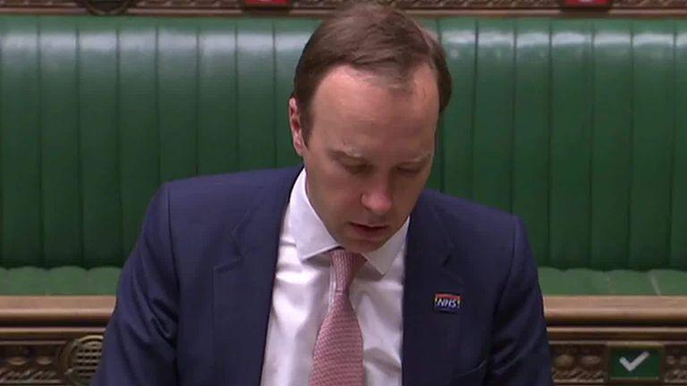 Sky News  Health Secretary Matt Hancock