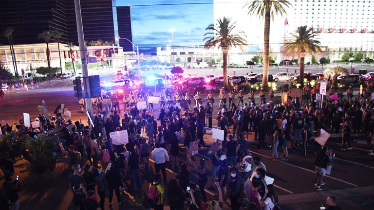 LAS VEGAS, NEVADA - MAY 31: Protesters attend a demonstration demanding justice for the death of George Floyd on May 31, 2020 in Las Vegas, Nevada. Demonstrations are being held across the country after Floyd died in police custody on May 25th in Minneapolis, Minnesota. (Photo by Denise Truscello/Getty Images )