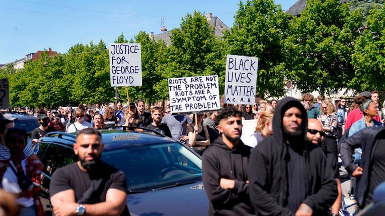 People demonstrate in front of the US Embassy in Copenhagen, Denmark, on May 31, 2020, to express their feelings in regard to the death of 46 year old George Floyd, an unarmed black man who died during his arrest in Minneapolis on May 25, 2020. (Photo by Ida Guldbaek Arentsen / Ritzau Scanpix / AFP) / Denmark OUT (Photo by IDA GULDBAEK ARENTSEN/Ritzau Scanpix/AFP via Getty Images)
