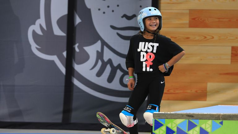 MINNEAPOLIS, MINNESOTA - AUGUST 02:   Sky Brown of Great Britain looks on while practicing for the Women's Skateboard Park at the X Games Minneapolis 2019 at U.S. Bank Stadium on August 02, 2019 in Minneapolis, Minnesota. (Photo by Sean M. Haffey/Getty Images)