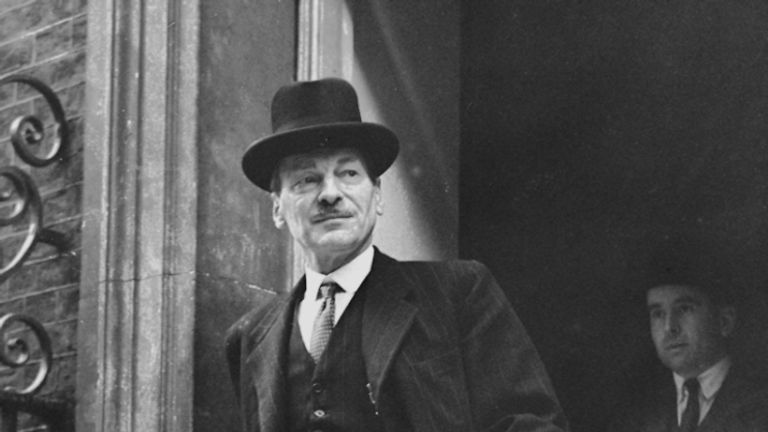Prime Minister Clement Attlee leaving Downing Street to address the House of Commons on cuts in the national expenditure.