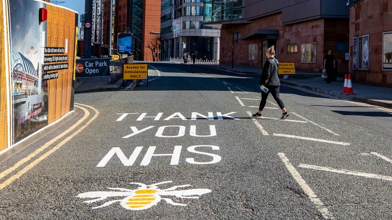 A worker bee, the symbol of Manchester is seen painted onto the floor with a message Thank You NHS outside the new NHS Nightingale North West hospital inside Manchester Central, Manchester which is open for patients as the UK continues in lockdown to help curb the spread of the coronavirus. PA Photo. Picture date: Tuesday April 14, 2020. See PA story HEALTH Coronavirus. Photo credit should read: Peter Byrne/PA Wire
