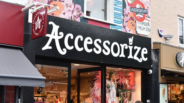 LONDON, ENGLAND - APRIL 29: A general view of an Accessorize female fashion accessory shop signage on April 29, 2018 in London, England. (Photo by John Keeble/Getty Images)