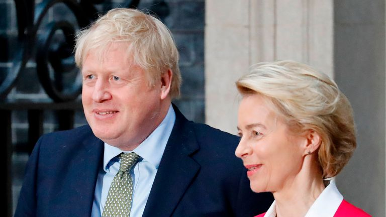 "Britain's Prime Minister Boris Johnson greets European Commission President Ursula von der Leyen outside 10 Downing Street in central London on January 8, 2020, ahead of their meeting. - The EU's top official on Wednesday predicted ""tough talks"" with Britain on the sides' future relations after Brexit enters force after years of delays at the end of the month. ""There will be tough talks ahead and each side will do what is best for them,"" European Council president Ursula von der Leyen said ahead of her first official meeting with Prime Minister Boris Johnson. (Photo by Tolga AKMEN / AFP) (Photo by TOLGA AKMEN/AFP via Getty Images)"