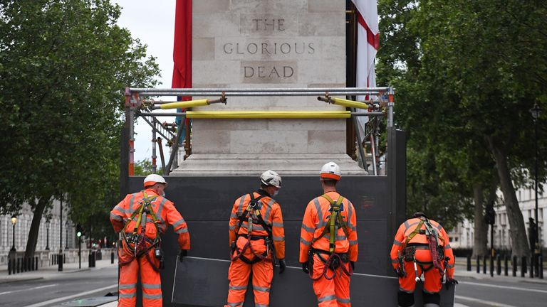 Scaffolders erect boarding around the Cenotaph on Whitehall, London, following a raft of Black Lives Matter protests that took place across the UK over the weekend. The protests were sparked by the death of George Floyd, who was killed on May 25 while in police custody in the US city of Minneapolis.