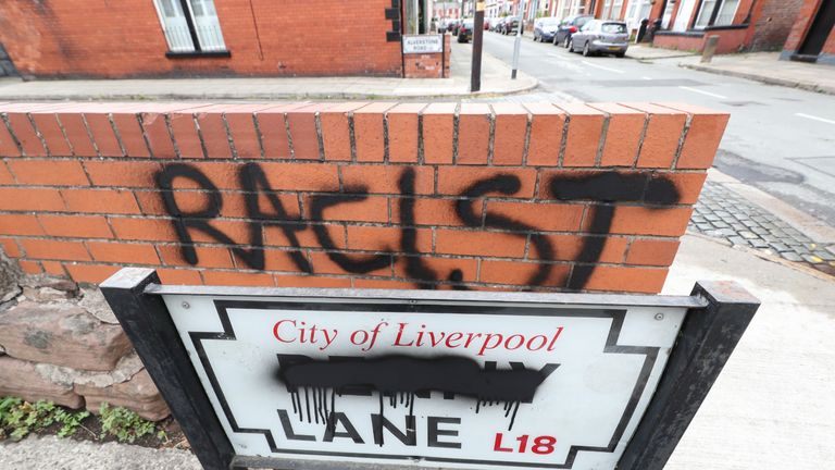 A road sign for Penny Lane, made famous by The Beatles, in Liverpool after it was vandalised following perceived links with slave trader James Penny.