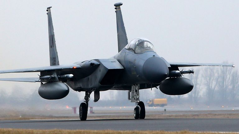A US Air Force F-15C Eagle is seen at the airfield near Siauliai Zuokiniai, Lithunaia on March 6, in 2014. The United States sent six additional F-15 fighter jets to step up NATO's air patrols over the Baltic states, mission host Lithuania said as West-Russia tensions simmered over Ukraine. AFP PHOTO / PETRAS MALUKAS (Photo credit should read PETRAS MALUKAS/AFP via Getty Images)