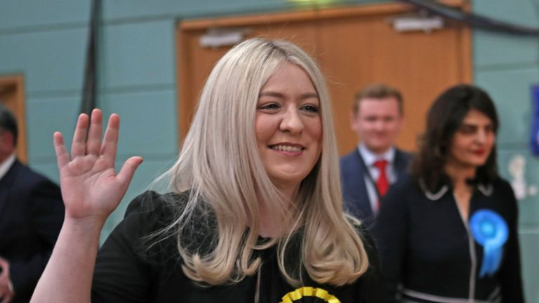 SNP candidate Amy Callaghan reacts at the Leisuredome, Bishopbriggs, after winning the East Dumbartonshire seat from Lib Dem Jo Swinson in the 2019 General Election.