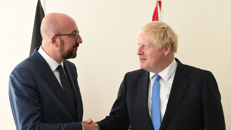 Prime Minister Boris Johnson meets with Belgian Prime Minister Charles Michel at the United Nations Headquarters in New York, USA, ahead of the 74th Session of the UN General Assembly.