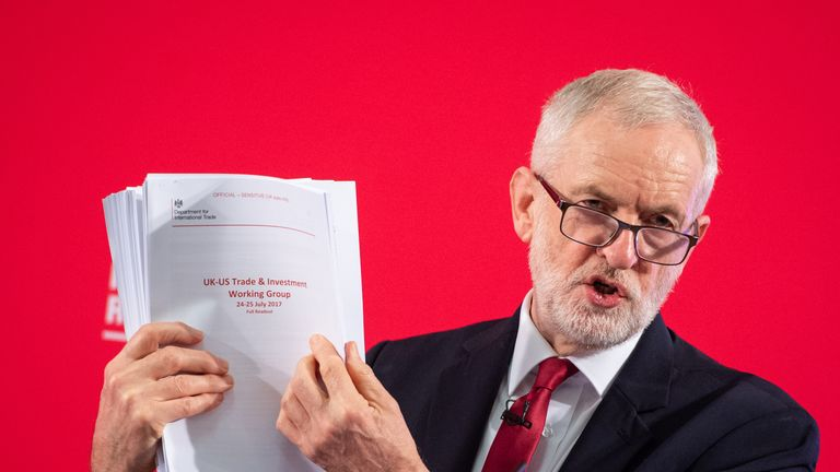 Labour leader Jeremy Corbyn holds an unredacted copy of the Department for International Trade's UK-US Trade and Investment Working Group report following a speech about the NHS, in Westminster, London.