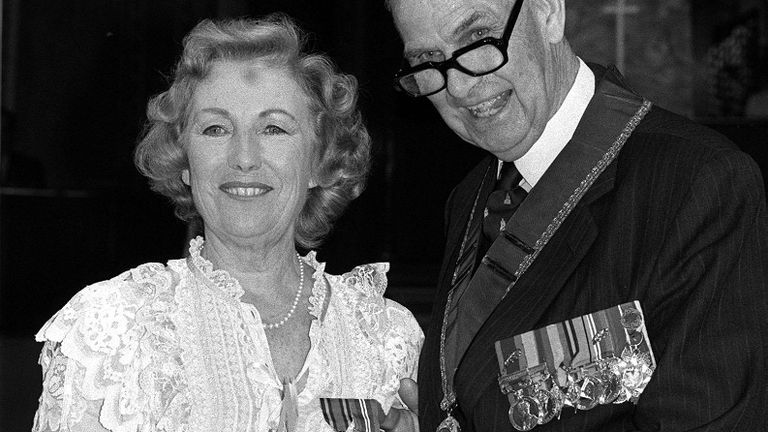 Wartime sweetheart Dame Vera Lynn at a veterans' reunion at the Royal Albert Hall, being presented, by Air Vice Marshal Sir Bernard Chacksfield (chairman of the Burma Star Association), with the Burma Star and the 1939-1944 War Medal.  * ...40 years after entertaining troops in the Far East.