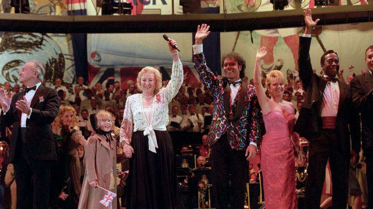 File photo dated 06/05/95 of Dame Vera Lynn (left) with Elaine Page and Cliff Richard during the finale of the VE Day 50th Anniversary ROoyal British Legion celebration at the Hyde Park in London. Forces sweetheart Dame Vera Lynn has died at the age of 103.