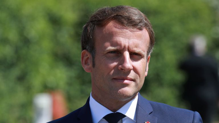 French President Emmanuel Macron arrives to visit a factory of manufacturer Valeo in Etaples, near Le Touquet, northern France on May 26, 2020 as part of the launch of a plan to rescue the French car industry. (Photo by Ludovic MARIN / POOL / AFP) (Photo by LUDOVIC MARIN/POOL/AFP via Getty Images)