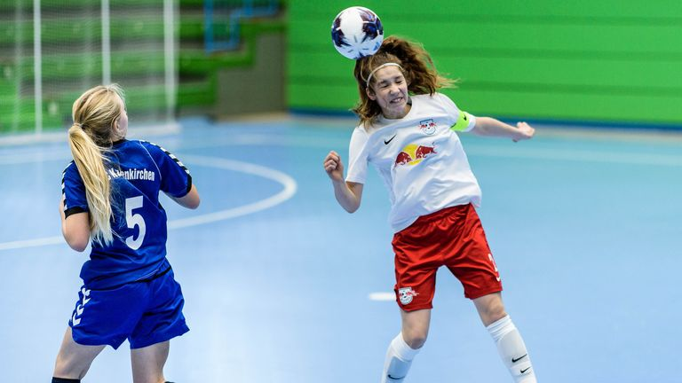 WUPPERTAL, GERMANY - MARCH 9: A girls of RB Leipzig with a header during Futsal-Cup 2019 of the C-Juniors on March 9, 2019 in Wuppertal, Germany. (Photo by Jörg Schüler/Bongarts/Getty Images)