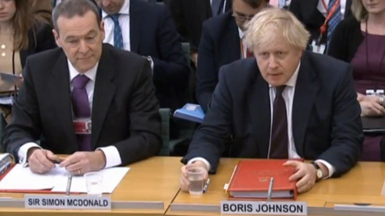 Foreign Secretary Boris Johnson gives evidence to the House of Commons Foreign Affairs Committee, flanked by the Foreign Office's permanent under-secretary Sir Simon McDonald and the UK's new permanent representative to the United Nations Karen Pierce, in Portcullis House, London.