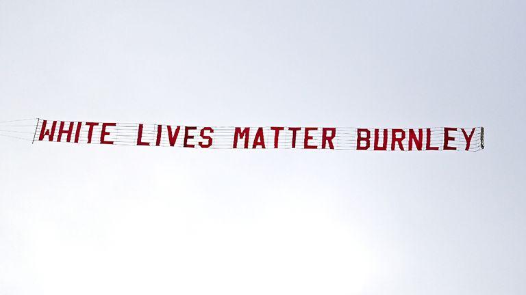 Burnley condemn 'White Lives Matter' banner flown over Manchester City match