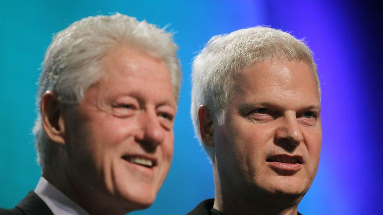 NEW YORK - SEPTEMBER 22:  Former U.S. President Bill Clinton (L) and Hollywood mogul Steve Bing look on during the annual Clinton Global Initiative (CGI) September 21, 2010 in New York City. The sixth annual meeting of the CGI gathers prominent individuals in politics, business, science, academics, religion and entertainment to discuss global issues such as climate change and the reconstruction of Haiti. The event, founded by Clinton after he left office, is held the same week as the General Assembly at the United Nations, when most world leaders are in New York City.  (Photo by Mario Tama/Getty Images)
