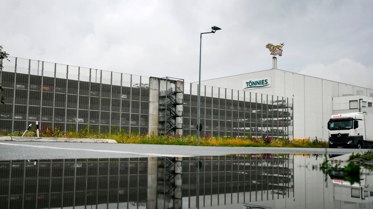A picture taken on June 18, 2020 shows the headquarters of abattoir company Toennies in Rheda-Wiedenbrueck. - The company stopped its production after 400 employees were tested covid-19 positive. (Photo by Ina FASSBENDER / AFP) (Photo by INA FASSBENDER/AFP via Getty Images)