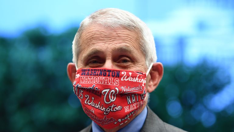 WASHINGTON, DC - JUNE 23: Dr. Anthony Fauci, director of the National Institute for Allergy and Infectious Diseases, wears a face mask bearing the name of the Major League Baseball Washington Nationals before a hearing of the House Committee on Energy and Commerce on Capitol Hill on June 23, 2020 in Washington, DC. The committee is investigating the Trump administration's response to the COVID-19 pandemic. (Photo by Kevin Dietsch-Pool/Getty Images)