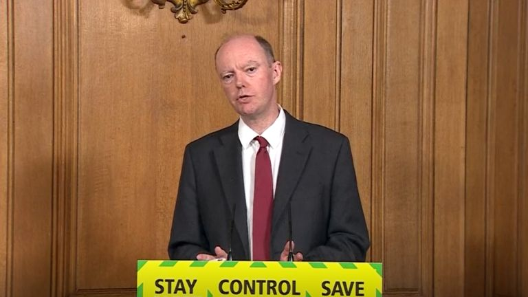 Screen grab of Chief Medical Officer for England, Chris Witty, during a media briefing in Downing Street, London, on coronavirus (COVID-19).
