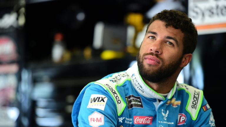 LOUDON, NEW HAMPSHIRE - JULY 20: Bubba Wallace, driver of the #43 Victory Junction Chevrolet, looks on during practice for the Monster Energy NASCAR Cup Series Foxwoods Resort Casino 301 at New Hampshire Motor Speedway on July 20, 2019 in Loudon, New Hampshire. (Photo by Jared C. Tilton/Getty Images)