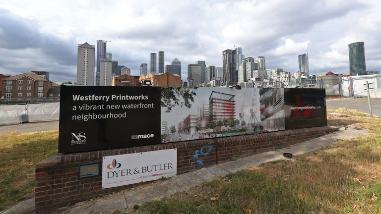A view of the Westferry Printworks site on the Isle of Dogs, east London. The 1 billion Westferry Printworks redevelopment scheme in east London was controversially approved in January by Housing Secretary Robert Jenrick, against the recommendation of a planning inspector. The decision has since been reversed after legal action by Tower Hamlets Council, which had voiced concerns over the size of the development when the plans were first submitted in 2018.