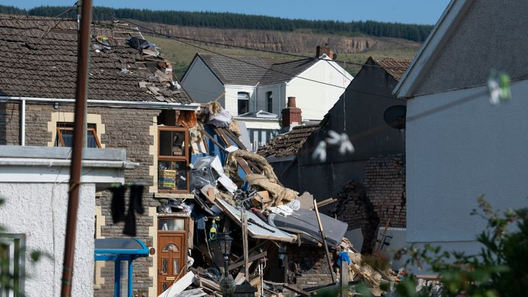 SEVEN SISTERS, WALES - JUNE 24: A general view of the scene following a house explosion on Church Road on June 24, 2020 in Seven Sisters, Wales. Two children and an adult have been hurt following an explosion at a house in Severn Sisters earlier today. (Photo by Matthew Horwood/Getty Images)