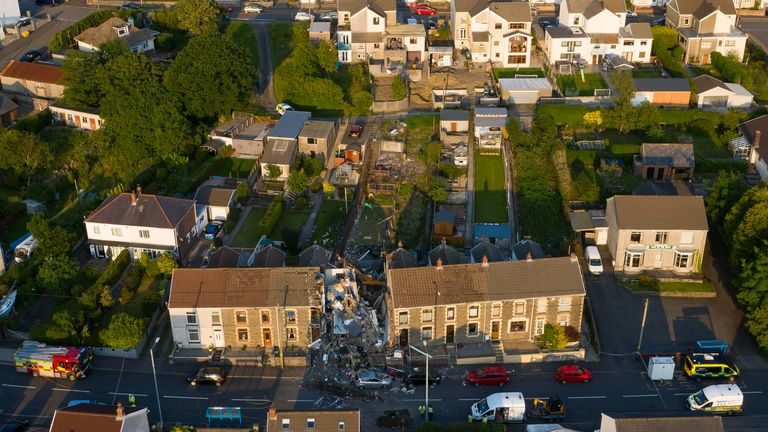 SEVEN SISTERS, WALES - JUNE 24: An aerial view of the scene following a house explosion on Church Road on June 24, 2020 in Seven Sisters, Wales. Two children and an adult have been hurt following an explosion at a house in Severn Sisters earlier today. (Photo by Matthew Horwood/Getty Images)
