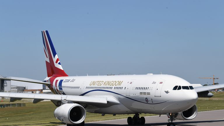 The RAF Voyager used by the Prime Minister and the royal family on the runway at Cambridge airport where it has been repainted in the colours of the Union flag at a cost of almost 1 million.
