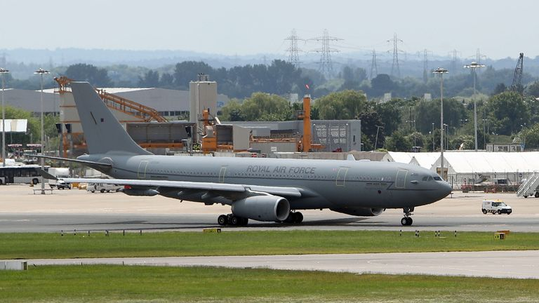 File photo dated 25/07/17 of an RAF Voyager used by the Prime Minister and members of the royal family which is being repainted in the colours of the Union flag. The grey RAF Voyager jet is receiving a pre-planned makeover at an airport in Cambridge, with red, white and blue expected to be used.