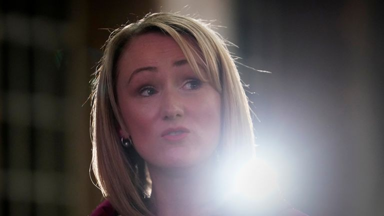 MANCHESTER, ENGLAND - JANUARY 17: Labour MP Rebecca Long-Bailey talks to the media before launching her bid for the leadership of the Labour Party at Manchester Museum of Science and Industry on January 17, 2020 in Manchester, England. Five candidates are contending the Labour Leadership. Clear favourite is Sir Keir Starmer followed by Rachel Long-Bailey, Lisa Nandy, Jess Phillips and Emily Thornberry. The new leader of the opposition will be announced on April 4, 2020. (Photo by Christopher Furlong/Getty Images)