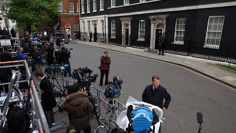LONDON, ENGLAND - MAY 07:  The media set up their equipment as they wait for a glimpse of British Prime Minister Gordon Brown who arrived back at 10 Downing Street this morning on May 7, 2010 in London, England. After five weeks of campaigning, including the first ever live televised Leader�s Debates, opinion polls suggest that the UK is facing the prospect of a hung parliament for the first time since 1974.  (Photo by Christopher Furlong/Getty Images)