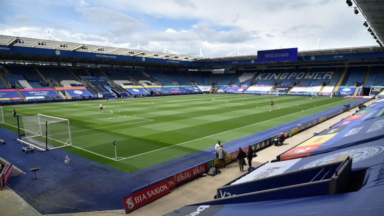 A general view of the stadium before the FA Cup quarter final match at the King Power Stadium, Leicester.